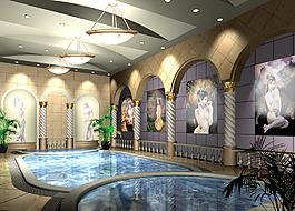 泳池四大美女背景墻