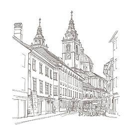手繪建筑圖片