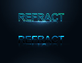 REFRACT倒影炫光艺术字