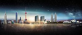 城市建筑海報背景