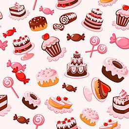 甜品卡通背景矢量图