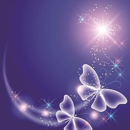 蝴蝶花纹炫光背景矢量图