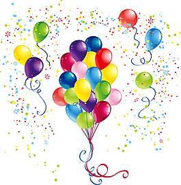 矢量浪漫彩色气球节日背景素材