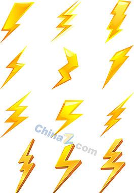 金色閃電圖標矢量素材