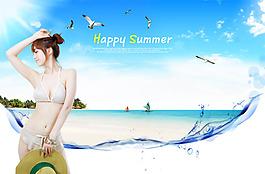 美女  沙灘 海洋 清涼一夏