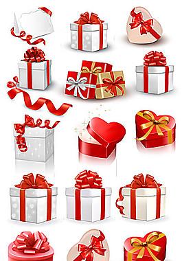 节日礼盒包装红丝带矢量素材