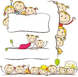 卡通儿童画矢量人物EPS儿童简笔画