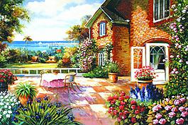 油畫風景圖片