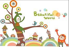卡通插画 美丽世界
