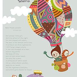 卡通插画 热气球环游