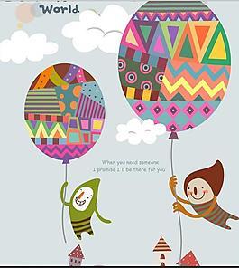 卡通插画 气球带我去飞翔