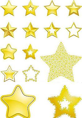 多款金色星星矢量素材