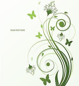 綠色植物花藤紋樣矢量素材圖片