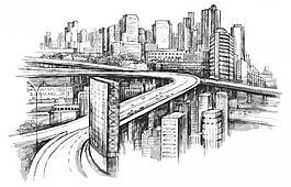 手繪都市城市建筑圖片