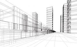 城市建筑線條圖圖片