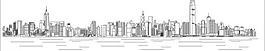 城市建筑線描香港維多利亞港圖片