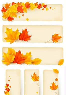 枫叶条幅矢量素材