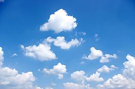 浅蓝色小清新白云天空背景素材