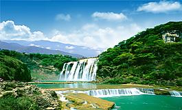 山水風景和河流瀑布PSD分層素材