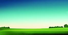 藍天草地高清背景PSD素材下載