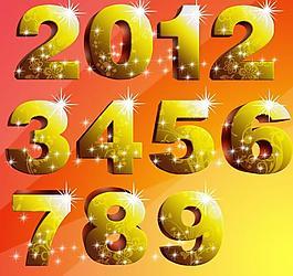 黃金立體數字圖片