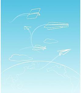 线条纸飞机涂鸦图片