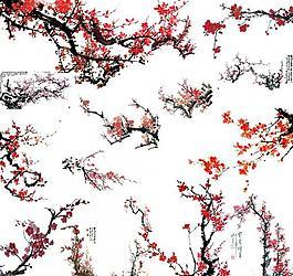 梅花水墨畫素材圖片