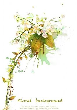 花卉植物藤蔓装饰背景PSD素材