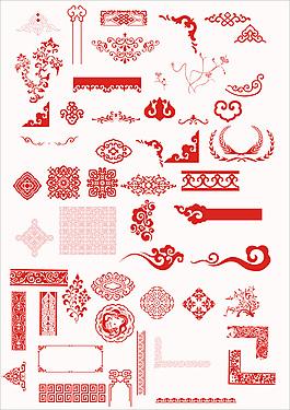 中國傳統古典花紋設計PSD分層素材下載