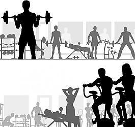健身人物剪影图片