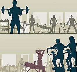 人物健身剪影图片