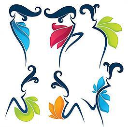 線條舞蹈美女花紋圖片