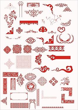 傳統復古花紋邊框PSD