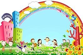 卡通背景幼儿背景墙宣传