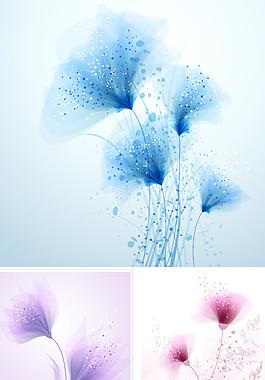 梦幻花朵矢量素材