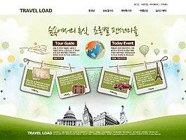 清新照片墙旅行网页psd模板