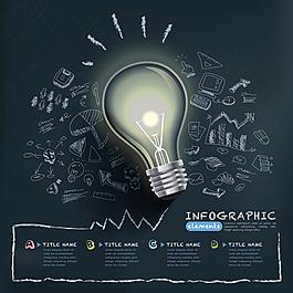 创意灯泡手绘商务信息图矢量素材