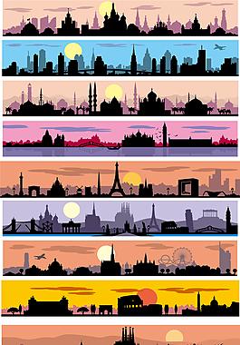 9款環球旅游城市剪影banner矢量素材