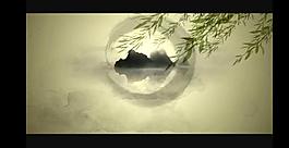 水墨花朵舞臺背景視頻