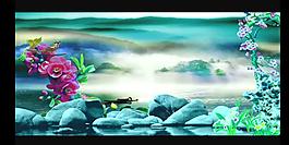 花朵湖水風景小鳥視頻