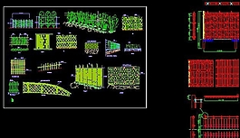 各種竹籬笆樣式CAD圖紙