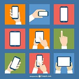 手和手机 扁平矢量素材