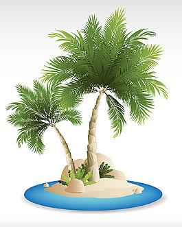 沙灘椰子樹背景矢量素材