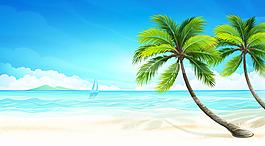海邊沙灘矢量素材
