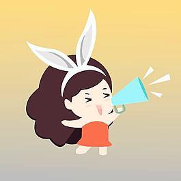 兔子美女拿著喇叭吶喊