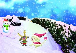 雪地雪景PSD分層素材