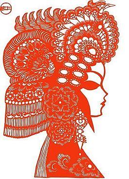 貂蟬 呂布與貂蟬 俊臉 中國傳統文化 京劇臉譜剪紙_74