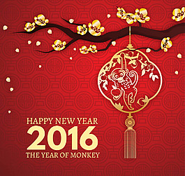 2016金色梅花卡通猴燈籠紅色背景