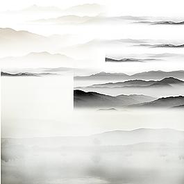 透明水墨山水背景图片