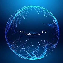 蓝色创意球状科技背景矢量素材